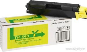 Kyocera TK-590Y картридж лазерный оригинальный желтый, 5000 страниц для Kyocera ECOSYS FS-C2026, FS-C2026MFP, FS-C2126, FS-C2126MFP. FS-C2526. FS-C2526MFP, FS-C2626, FS-C2626MFP, FS-C5250, FS-C5250DN, M6026, M6026CDN, M6026CIDN, M6526CDN, M6526CIDN, P6026, P6026CDN